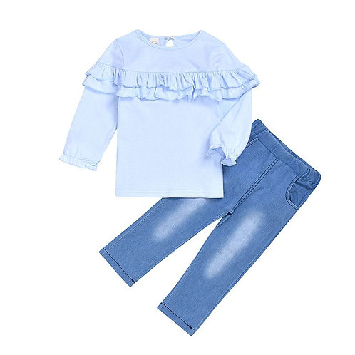 6121349 2 Pcs Set Girl Blue Ruffle Desing Top And Jeans