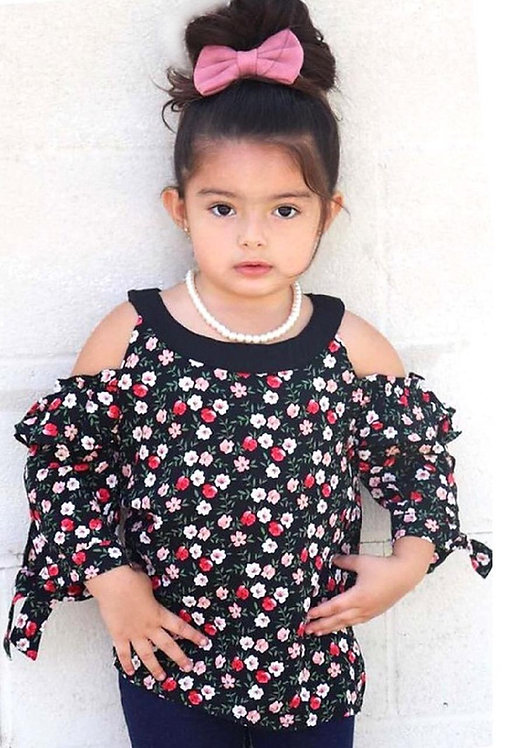 Girls' cute cold shoulders floral print fashion top..
