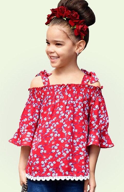 Girls' cute off  shoulder  fashion top ruching waist floral print crochet..