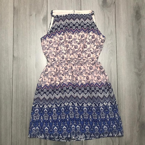 51514 Pink Navy Pattern Dress