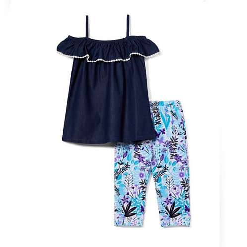 Chambray legging blue set