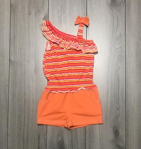 44574 One shoulder orange romper