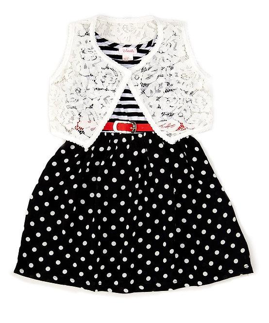1855 Girl Polka Dot Dress With Lace Vest