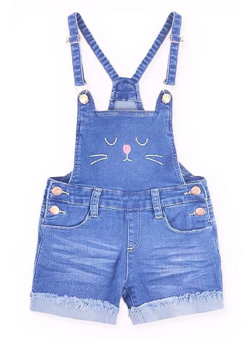 3551 Girls' Yummy Wash Denim Shortall Kitty Face..