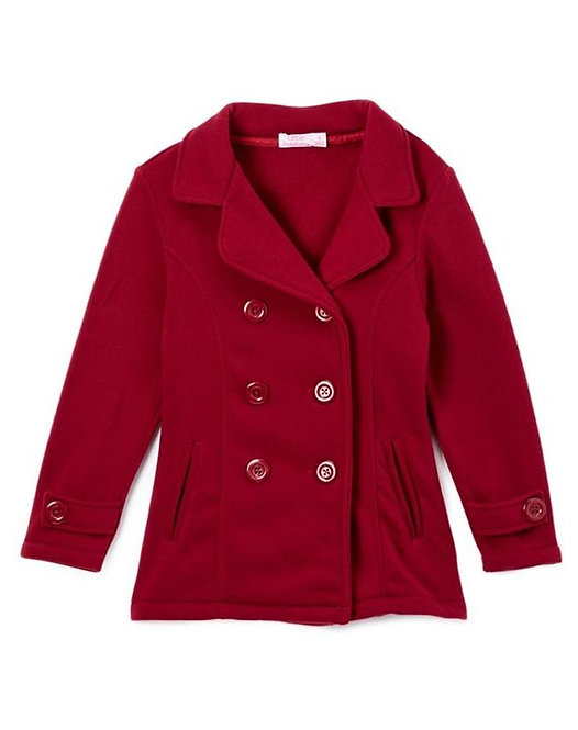 Girls' Double Button Fleece Coat with 2 Front Pockets