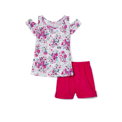 Girls´2-pieces floral pink set.