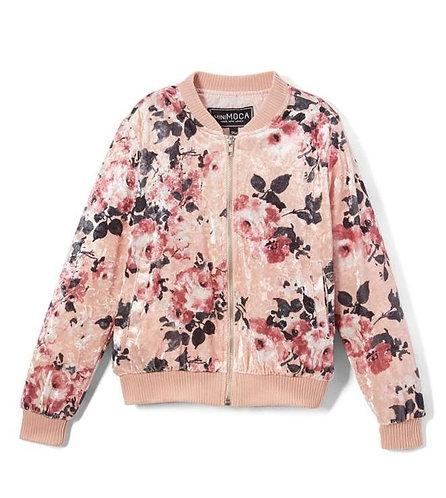 Pink velvet bomber jacket