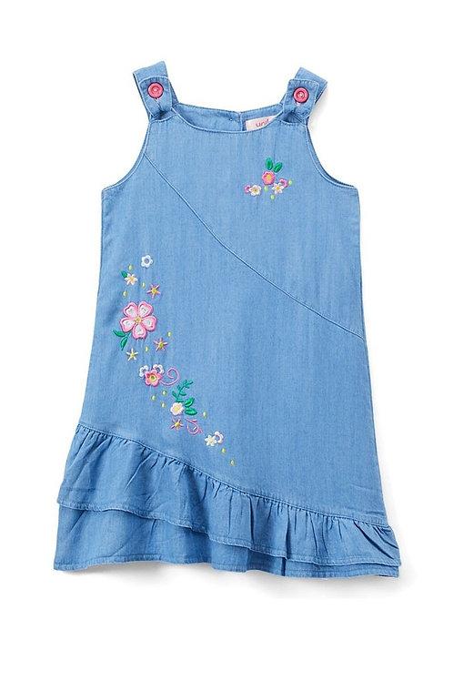 1931 Side Flower Denim Dress