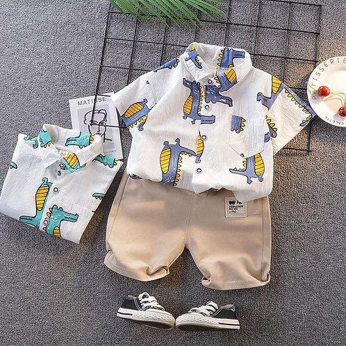 3272012 Blue Boys  Cute Cartoon Pattern shirts And Short Set