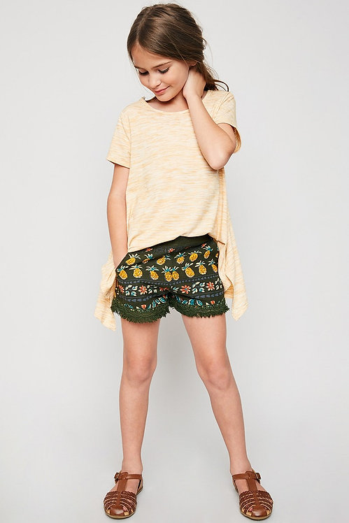 6054 Printed Tassel Trim Short