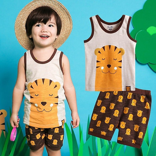 Sleeveless Pajama Set- Coolcool Tiger
