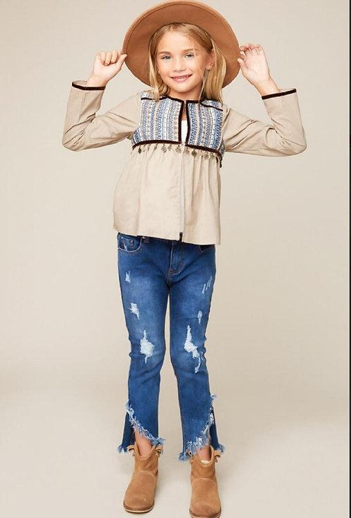 2388 Embellished Kids Tunic Jacket.