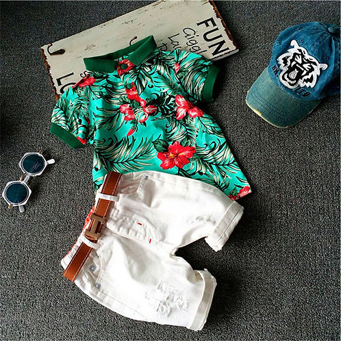 3272009 Boys Short Sleeves Flower Pattern T-shirts And Shorts With Belt Set
