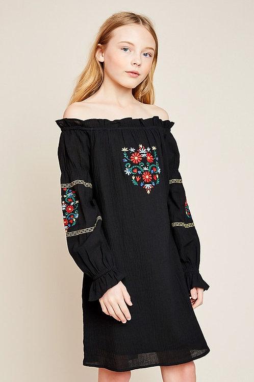 5605 Embroidered Off the Shoulder Dress