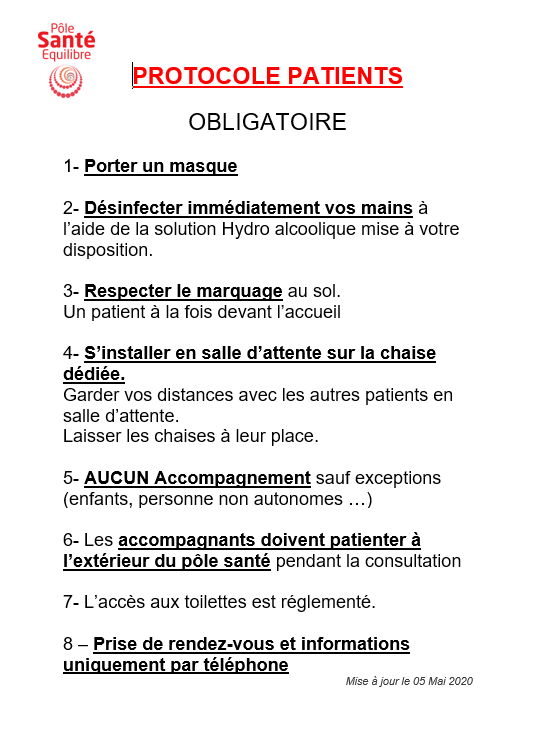 Voici le protocole applicable aux patients qui auront un rendez vous.