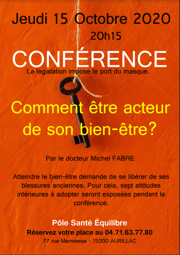 Conférence jeudi 15 octobre à 20h15 au Pôle Santé
