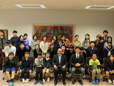 子どもたちと三原市長を表敬訪問しました