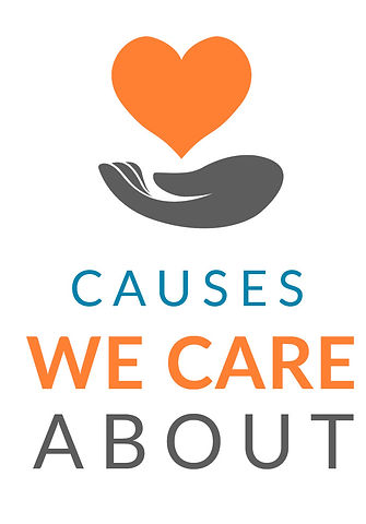 A hand holding a heart and the words. Click to see,CAUSES WE CARE ABOUT
