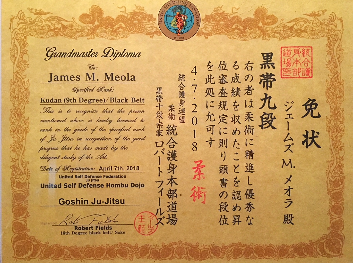 Grandmaster James Meola 9th Degree
