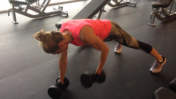 Plank and dumbbell row