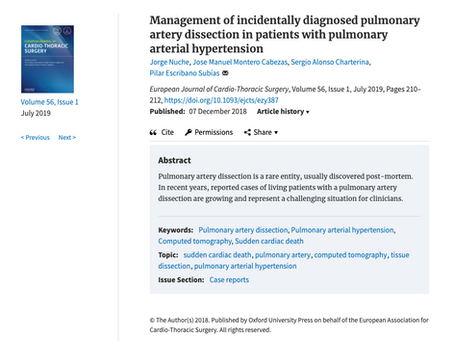 Management of incidentally diagnosed pulmonary artery dissection in patients with pulmonary arterial
