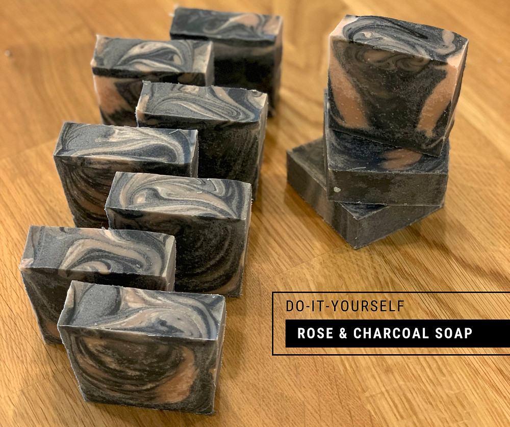 DIY Rose and Charcoal Cold Process Soap