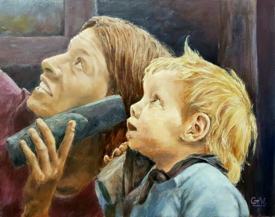 Juul en Dante in het museum