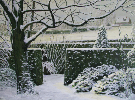 Onze tuin in de sneeuw