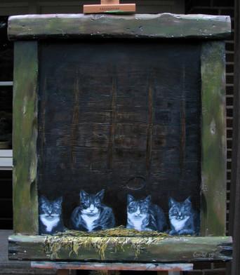 Katten op de hooizolder