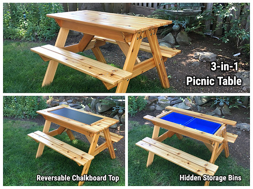 3-in-1 Convertible PRETEEN Picnic Table with Blackboard and sand/ water/storage