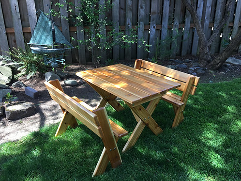 Kids Preschool Cedar Picnic Table / Separate benches with backs