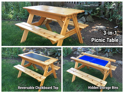 3-In-1 Convertible Kids Picnic Table with Sand & Water/Storage Bins and Blackboa