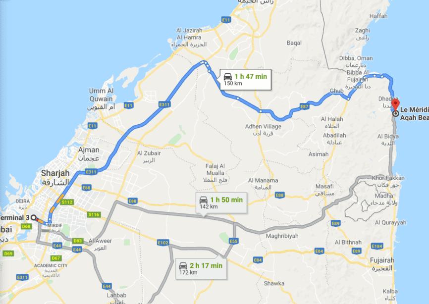 Расстояние от аэропорта Дубай до отеля L