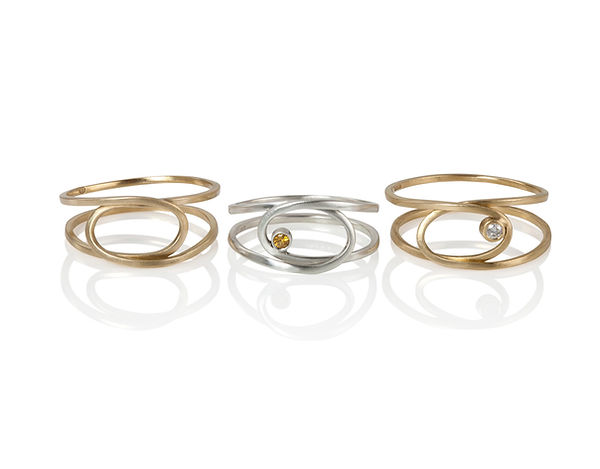 Loop rings, gold and silver