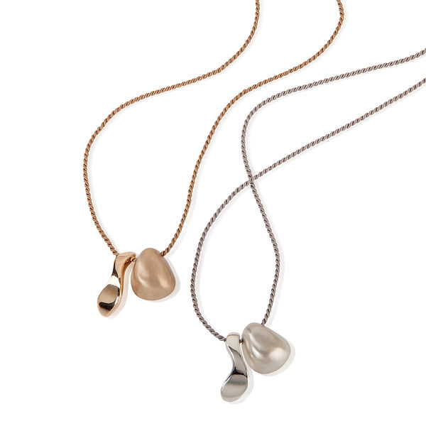 Pebble flow necklaces, silver and bronze