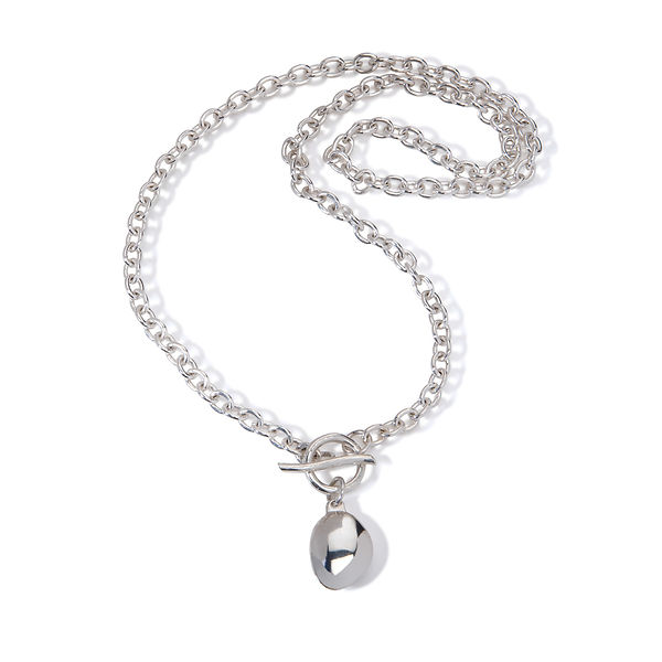 Pebble chain necklace, silver