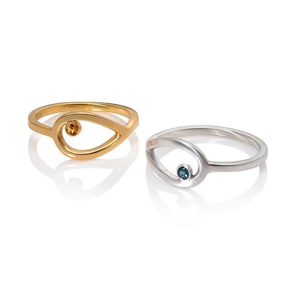 Loop leaf rings, silver and gold