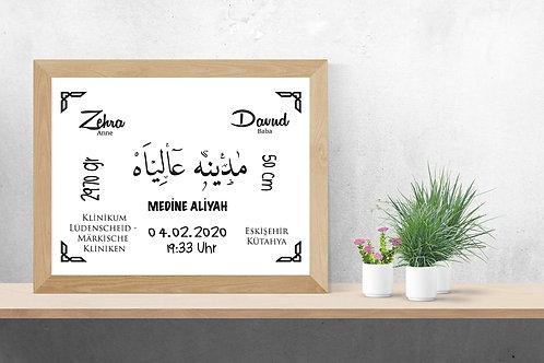 Baby - Geburtsdaten / Arabische Schrift