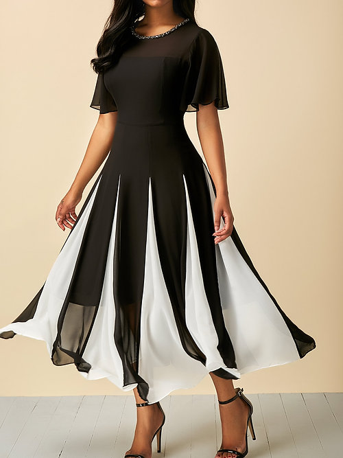 Black Short Sleeve Round Neck Patchwork Dress