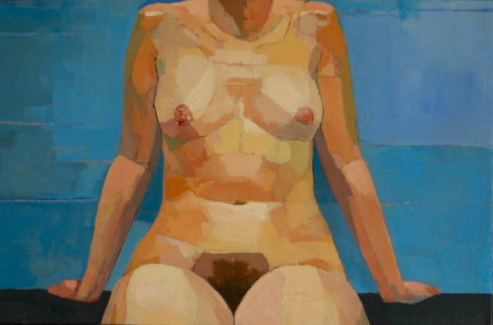 Seated Nude (after Uglow) | c.1995 | Oil on canvas | 45 x 61 cm
