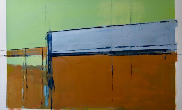 Estuary series - grey and ochre | c.2015 | Oil on paper | 71.1 x 96.5 cm