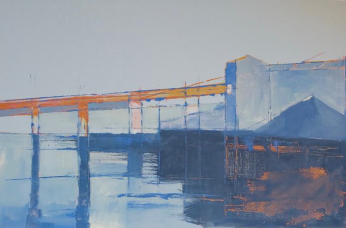 Cement works - orange pier   2014   Oil on paper   71 x 96.5 cm
