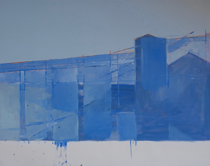 Cement works blue   2014   Oil on paper   71.1 x 96.5 cm