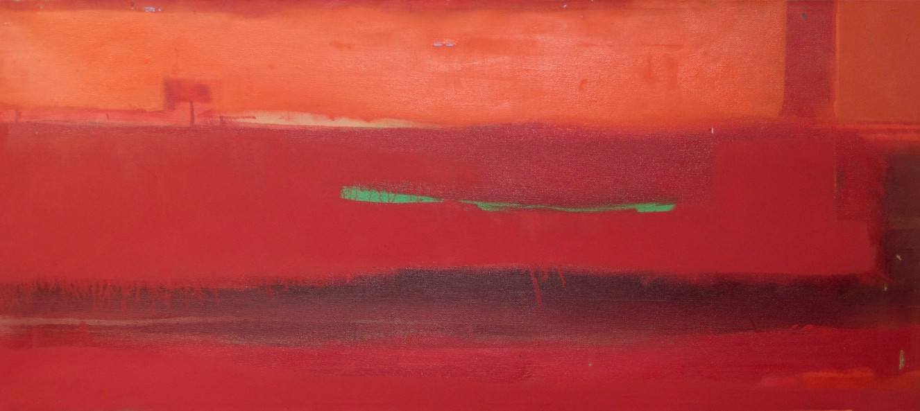 Abstract red and green | c.2004 | Oil on canvas | 50.8 x 114.3 cm