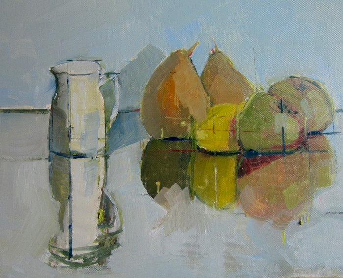 Still life with white jug | 2014 | Oil on paper | 30 x 42 cm