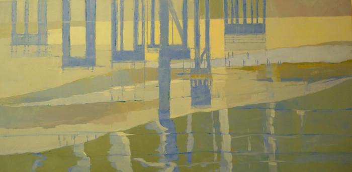 Reflections (beneath a bridge) II   c.2011   Oil on canvas   51 x 102 cm