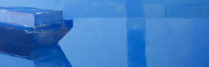 Blue barge   2012   Oil on board   31.4 x 101.2 cm