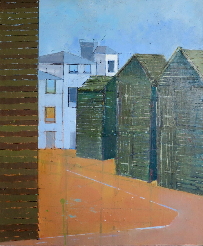 Hastings Sheds   1998   Oil on board   68.6 x 58.4 cm