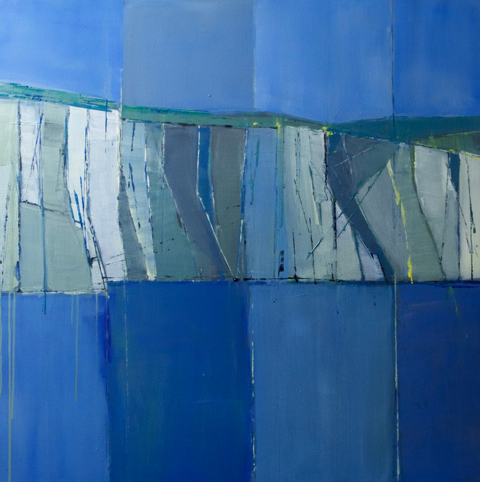 Cliffs at Seaford (from the sea) | 2016 | Acrylic on canvas | 101.6 x 101.6 cm