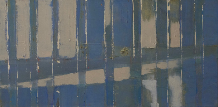 Reflections (beneath a bridge)   2009   Oil on canvas   30 x 60 cm